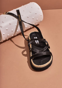 Chase Sandal Black Satin